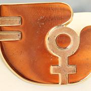 SALE Vintage Tiffany Sterling Gilt Peace Dove Pin