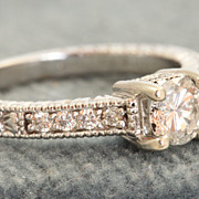 Estate 14 KW 0.74 CT Diamond Heritage Wedding Ring