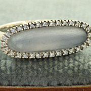 SALE Estate 18 KW Chalcedony Diamond Ring