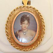 SALE 18 K Estate 1960's Italian Hand Painted Portrait Pin/Pendant