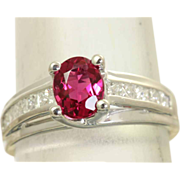 SALE Estate 18 KW Raspberry Tourmaline Diamond Ring