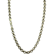 "SALE Estate 24"" Sterling Rolo Necklace, Italy"
