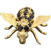 SALE Estate 14 K Diamond and Sapphire Fly Pin