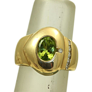 SALE Estate  1960's 14 K 1.5 CT Peridot Diamond Modernist Ring