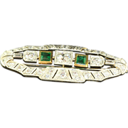 SALE Estate 18 K Old European Cut Diamond Emerald Brooch