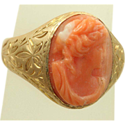 SALE Estate 14 K Coral Cameo Chased Ring