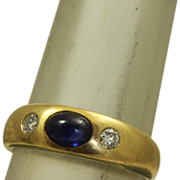 SALE 18 K European Belcher 0.50 CT Sapphire and Diamond Ring