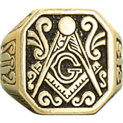 SALE Estate 14 K Enamel Masonic Ring