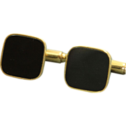 SALE Estate European 14 K Onyx Cuff Links