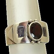 SALE Estate Sterling Garnet Tanzanite Buckle Ring