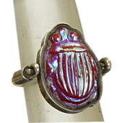 SALE PENDING Sterling Tiffany Glass Scarab Ring