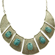 SALE Estate Sterling Silver Egyptian Revival Scarab Necklace