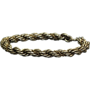 SALE Estate Sterling/18 K Twisted Rope Bracelet