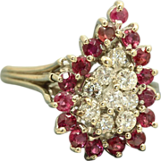 SALE Estate 14 KW Ruby and Diamond Dinner Ring