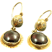 SALE Early 14 K Etruscan Style Garnet Diamond Earrings