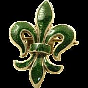 SALE Vintage Sterling Enamel Fleur d' Leis Watch Pin