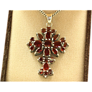 Sterling Vintage 15 CT Garnet Cross