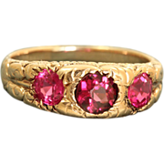 SALE 14 K Early Chased Three Stone Pink Spinel Band