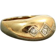 SALE Estate 14 K Three Diamond Band