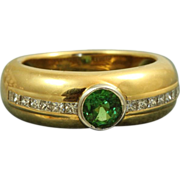 SALE Estate 18 K Tsavorite Garnet Diamond Band