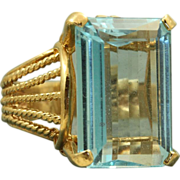 SALE Estate 14 K 12 CT Blue Topaz Dinner Ring