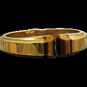 SALE Estate 18 K Solid Gold Tiger's Eye Bracelet
