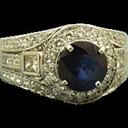 SALE Estate 18 K  5 CT Sapphire Diamond Ring
