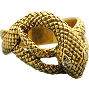 SALE Estate 14 K Suberi Brothers Diamond Snake Ring