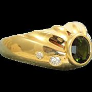 SALE Estate Designer 18 K 1.25 CT Tourmaline and Diamond Ring
