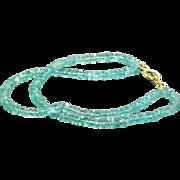 SALE 18 CT Double Strand Apatite Bead Bracelet