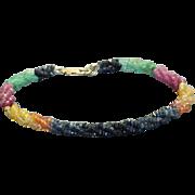 SALE Estate 14 K Multi Gem Twisted Bracelet