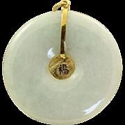 SALE Estate 1940's 14 K Mint Green Jadeite Pendant