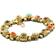 SALE Estate 1940's 14 K Multi-Gem Slide Bracelet