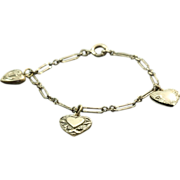 SALE Sterling Vintage Puffy Heart Bracelet