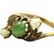 SALE Estate 14 K Jade and Baroque Pearl Ring