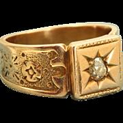 SALE 14 K Victorian Rose Gold Diamond Ring