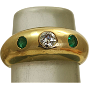 SALE 18 K Vintage Cartier Diamond Emerald Gypsy Ring
