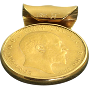 SALE 1910 George 7th Sovereign Coin in Bezel