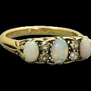 SALE 18 K Three Stone Opal and Diamond Ring