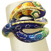 SALE Estate 18 K Diamond Enamel Snake Ring