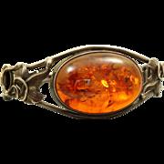 SALE Large Sterling Art Nouveau Amber Bracelet
