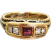 SALE Estate 14 K Ruby Diamond Ring