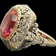 Estate 12 K Cushion 10 CT Padparadscha Sapphire Ring