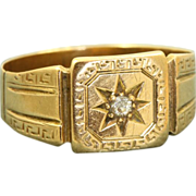 SALE 18 K 1860 Birmingham Rose Cut Diamond Buckle Ring