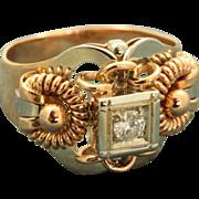 SALE 18 K 'Steampunk' Rose Gold 0.25 CT Diamond Ring