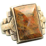 SALE Ostby & Barton Sterling/10 K Deco Agate Ring