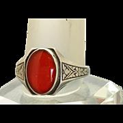 SALE Sterling Carnelian Enamel Ring