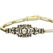 SALE Early French 14 K/Sterling Silver Rose Cut Diamond Bracelet