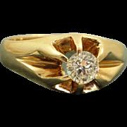 SALE Estate 14 K 0.58 Old Mine Cut Belcher Ring