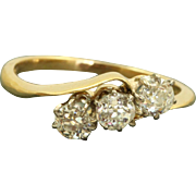 SALE Early Estate 18 CT 0.66 Old Mine Cut 3 Diamond Crossover Ring